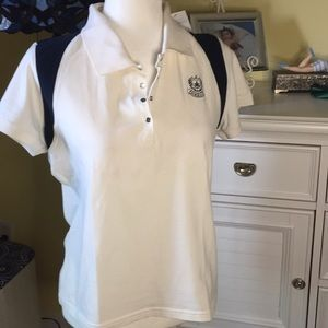 Lizgolf Polo Shirt Off White & Navy NWT Size L